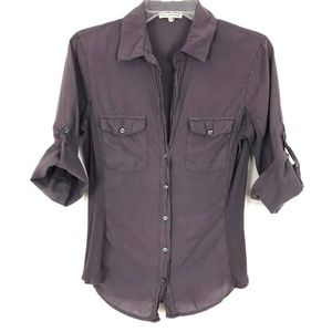 Standard James Perse Contrast Ribbed Surplus Shirt